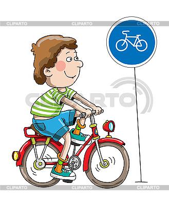 Junge auf einem Fahrrad | Illustration mit hoher Auflösung |ID 3127847
