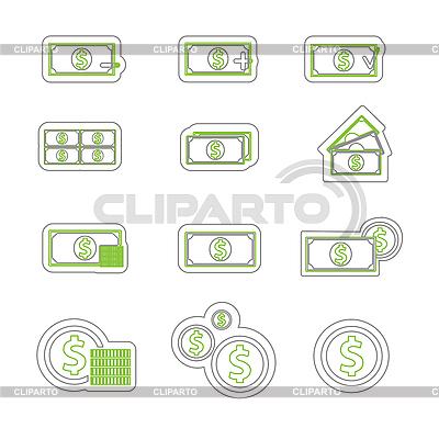 Zweifarbige Geld-Icons   Stock Vektorgrafik  ID 3161480