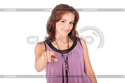 特写肖像的妇女指着她的手指   高分辨率照片  ID 3137454