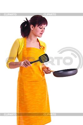 Frau mit einer Pfanne | Foto mit hoher Auflösung |ID 3137682