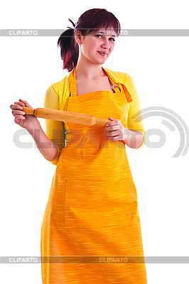 Hausfrau mit dem Nudelholz | Foto mit hoher Auflösung |ID 3137686