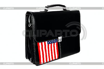 Aktentasche und die Flagge der USA | Foto mit hoher Auflösung |ID 3135545