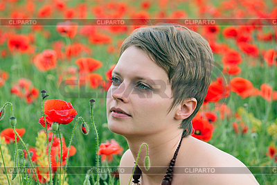 Girl in the poppies   High resolution stock photo  ID 3140591