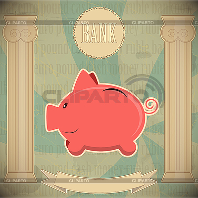 Pink piggy bank - vintage card | Stock Vector Graphics |ID 3140803