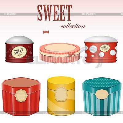 Pudełka cukierków z etykietami | Klipart wektorowy |ID 3154993