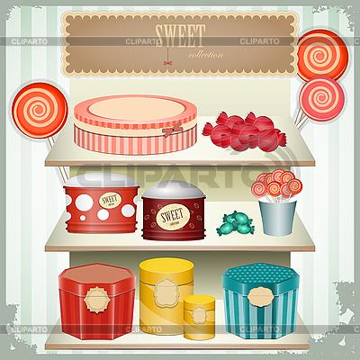 Vintage-Postkarte - Geschäft von Süßigkeiten | Stock Vektorgrafik |ID 3155045