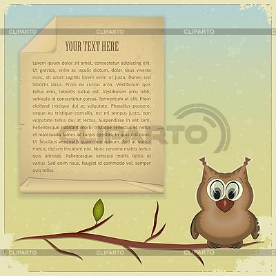 Mądra sowa i stary papier | Klipart wektorowy |ID 3166854