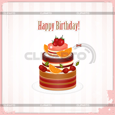 Vintage birthday card with Chocolate Berry Cake   Stock Vector Graphics  ID 3168827