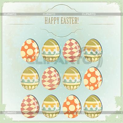 부활절 달걀 - 빈티지 스타일에서 오래 된 엽서 | 벡터 클립 아트 |ID 3185738