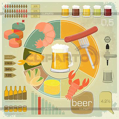 빈티지 인포 그래픽 세트 - 맥주 아이콘, 스낵 | 벡터 클립 아트 |ID 3210014