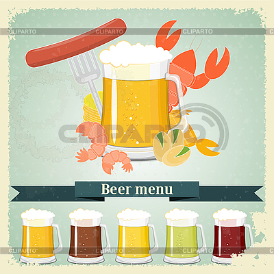 Weinlese-Postkarten, Briefe Menü - Bier, Bier Snack | Stock Vektorgrafik |ID 3210197