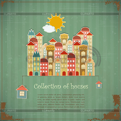 Collection of houses on vintage background | Stock Vector Graphics |ID 3243276