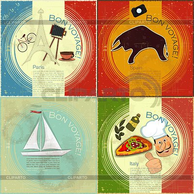 Set of Vintage travel postcard - French, Italian and Spanish the | Stock Vector Graphics |ID 3247610
