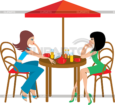 Two young woman in cafe | Stock Vector Graphics |ID 3142600