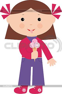Little girl eats ice-cream | Stock Vector Graphics |ID 3142966