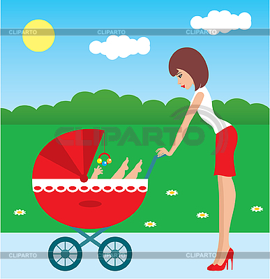 Mother walks with the child in carriage | Stock Vector Graphics |ID 3142970