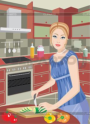 Młoda kobieta w kuchni kawałki warzyw | Klipart wektorowy |ID 3142982
