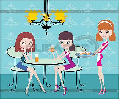 Friends in cafe and the waitress | Stock Vector Graphics |ID 3142984