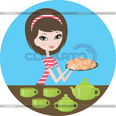 Pretty girl with cookies | Stock Vector Graphics |ID 3143004