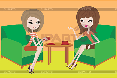 Two young women talk in armchairs | Stock Vector Graphics |ID 3143024