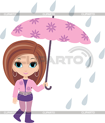 Woman cartoon with umbrella | Stock Vector Graphics |ID 3154788