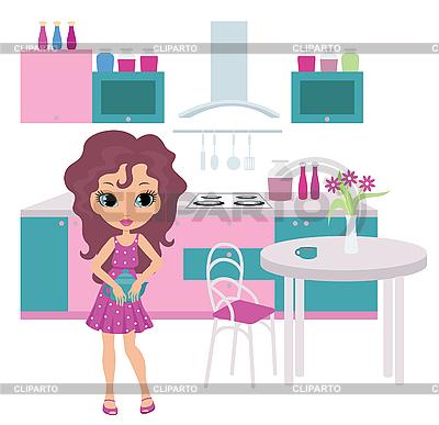 Мультяшный девушка на кухне несет чайник   Векторный клипарт  ID 3154792