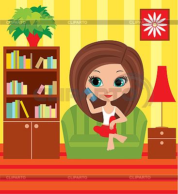 Girl cartoon speaks on the phone   Stock Vector Graphics  ID 3154796
