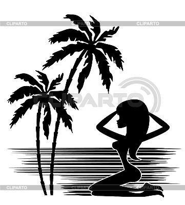 棕榈树和女人剪影 | 向量插图 |ID 3154830