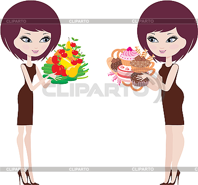 Two women thick and thin | Stock Vector Graphics |ID 3154888