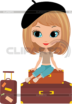 Pretty girl sits on suitcase | Stock Vector Graphics |ID 3154916