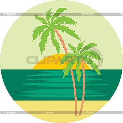 与棕榈树的热带海滩。 | 向量插图 |ID 3167589