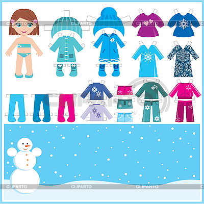 Paper doll with set of winter clothes | Stock Vector Graphics |ID 3167599