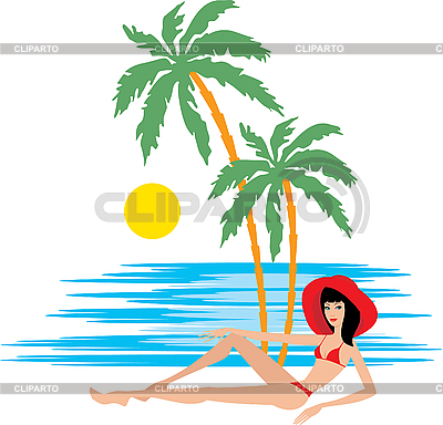 Tropical beach with palm trees and woman | Stock Vector Graphics |ID 3167627