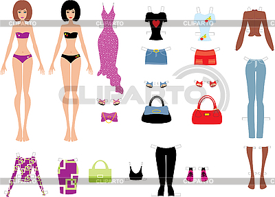 Paper dolls with clothes | Stock Vector Graphics |ID 3167631