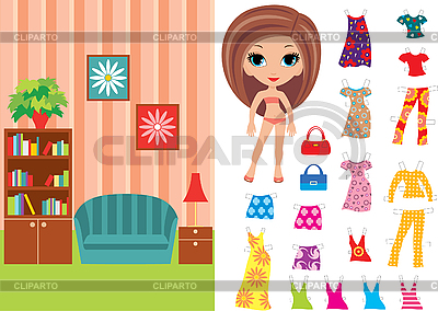 Paper doll with clothes and room | Stock Vector Graphics |ID 3167633