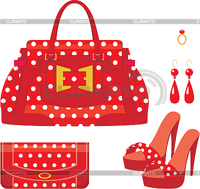 Female bag, purse and shoes on heel | Stock Vector Graphics |ID 3167708