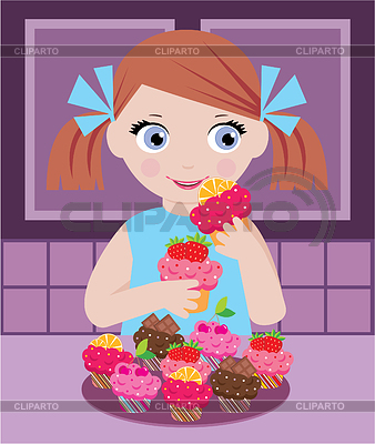 Little girl in kitchen with cupcakes   Stock Vector Graphics  ID 3268199