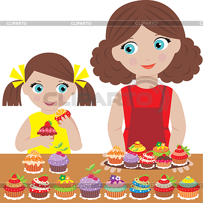Mother with the daughter bake cupcakes | Stock Vector Graphics |ID 3268207