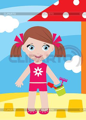 Маленькая девочка в песочнице с bucke | Векторный клипарт |ID 3268237