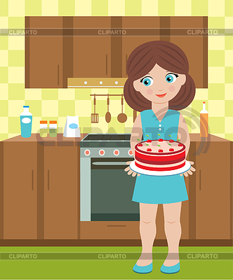 Young woman holds pie | Stock Vector Graphics |ID 3268259