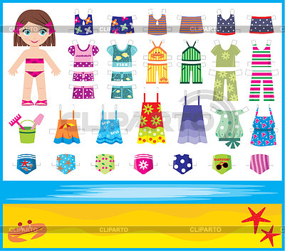 Paper doll with summer set of clothes | Stock Vector Graphics |ID 3275072