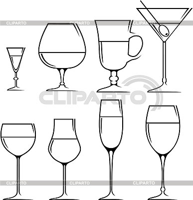 Set of symbols and icons glasses for alcoholic drinks | Stock Vector Graphics |ID 3329507