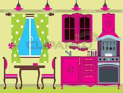 厨房家具。室内 | 向量插图 |ID 3329569