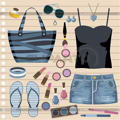Fashion set with jeans skirt   Stock Vector Graphics  ID 3352757