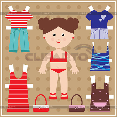 Paper doll with clothes set | Stock Vector Graphics |ID 3352765