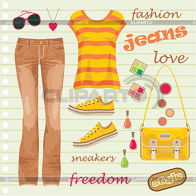 Jeans fashion set | Stock Vector Graphics |ID 3352799