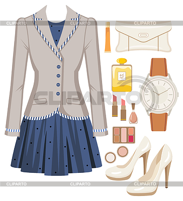 Fashion set of female suit, accessories and cosmetics | Stock Vector Graphics |ID 3352815