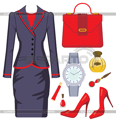 Fashion set of female suit, accessories and cosmetics | Stock Vector Graphics |ID 3352819