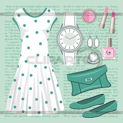 Fashion set in pastel tones with a dress | Stock Vector Graphics |ID 3383046