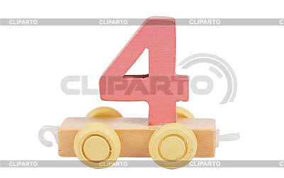 Wooden toy number 4 | High resolution stock photo |ID 3153480